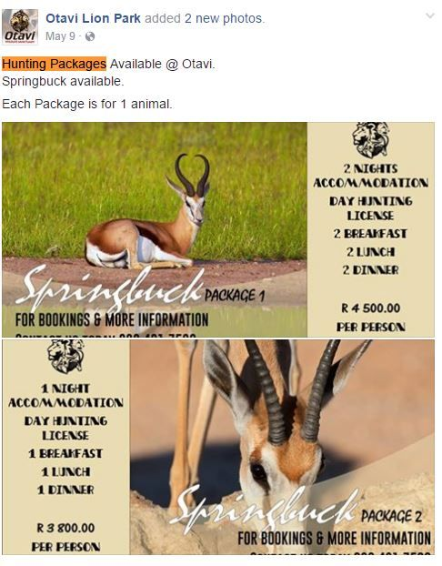 Screenshot of Otvali advertising a hunting package on its Facebook page