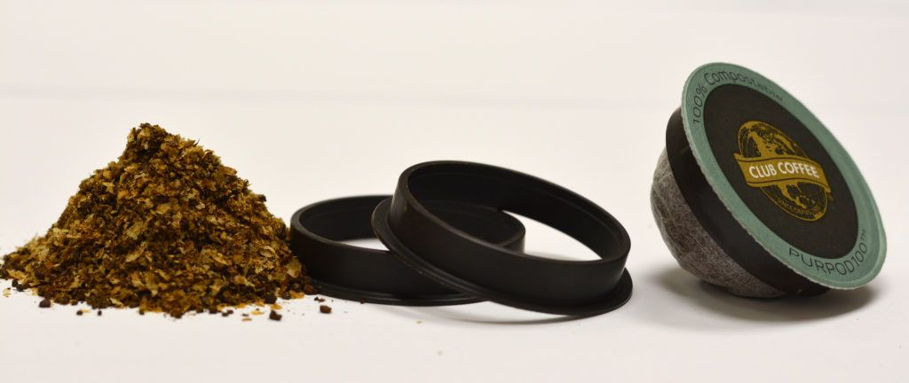 Compostable coffee grounds, coffee chaff container and ring.