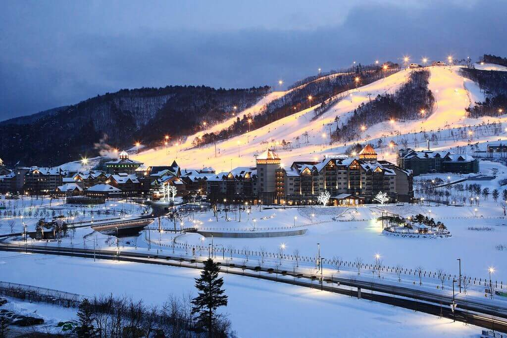 A ski venue for the 2018 Winter Olympic Games in Pyeongchang, South Korea. The 2018 Olympics scored poorly for animal rights.