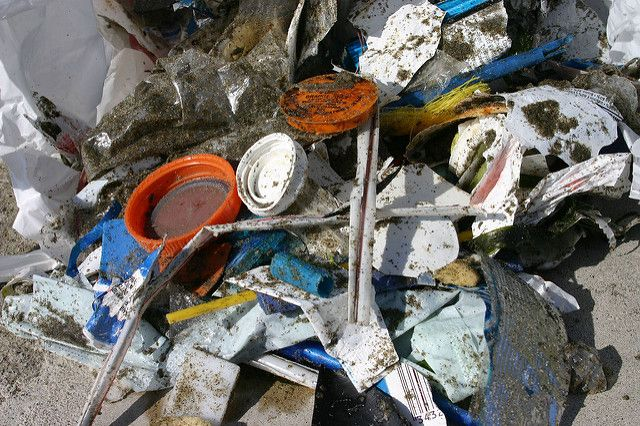 Plastic straw pollution.