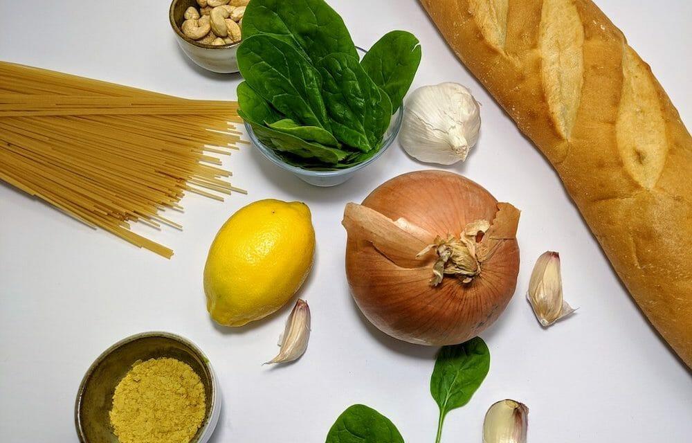 Recipe: Healthy, Easy Vegan Spinach Alfredo with Cauliflower Pasta and Garlic Bread