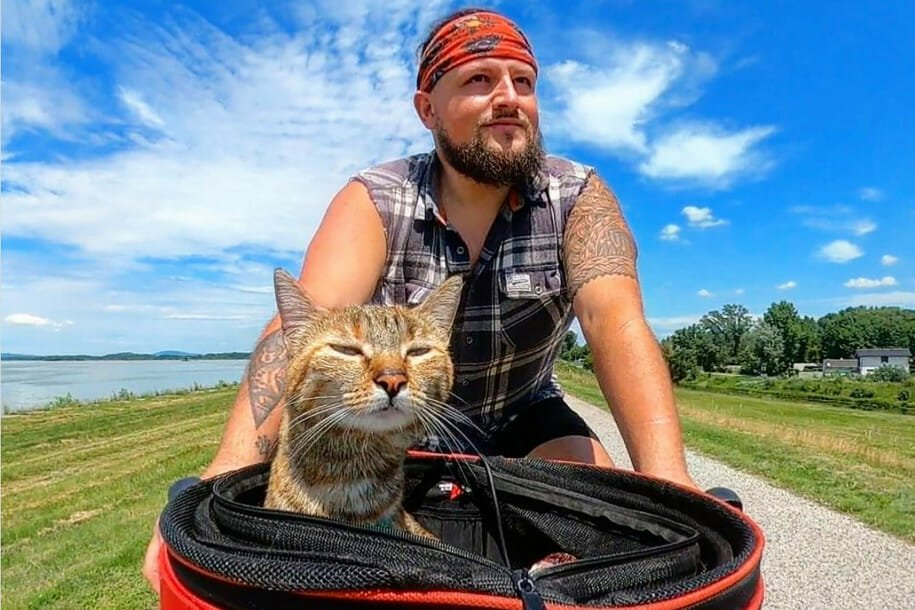 World Traveling Cyclist Adopts Stray Cat on His Journey