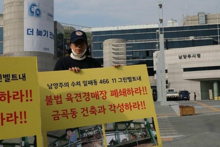 Nami Kim protesting Nakwon Auction House