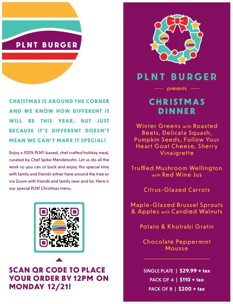 plnt burger christmas dinner menu