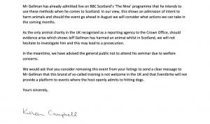 Scottish SPCA letter